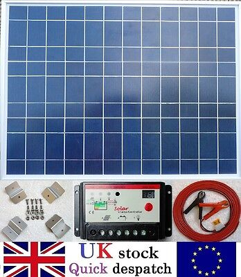 50w Solar Panel + 10A Charger Controller + Brackets + 4m cable for 12v Battery