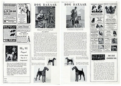 AIREDALE DOG Article Ad from 1941 - 2 pages with Photos - Kennel Ads