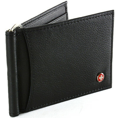Alpine Swiss RFID Blocking Men's Wallet Leather Front Pocket Spring Money Clip