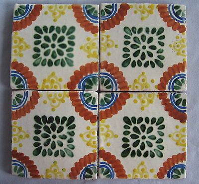 4 VINTAGE MEXICAN RED CLAY TILES Hand Painted & Colorful!