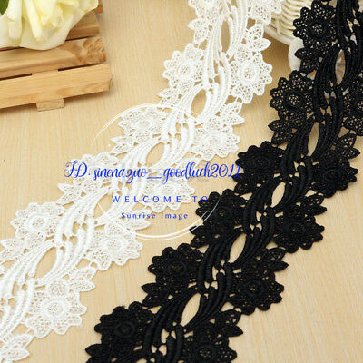 1 Yard Crochet Embroidery Flower Lace Trim Ribbon Applique Sewing Craft DIY F139