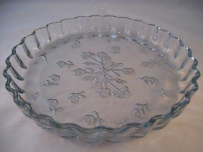 Anchor Hocking Savannah-Clear Glass Toscany Collection Fluted Quiche Dish