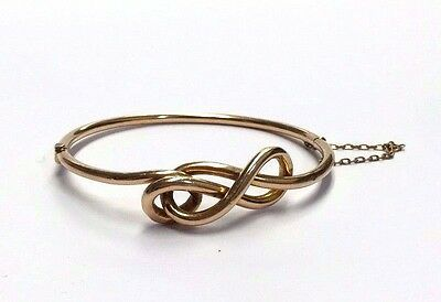Nice! Antique Victorian Hollow Coiled Snake Style 15K 15CT Gold Bangle Bracelet