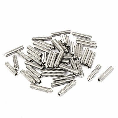 M4x20mm Stainless Steel Cone Point Grub Screws Hex Socket Set Screw 50pcs