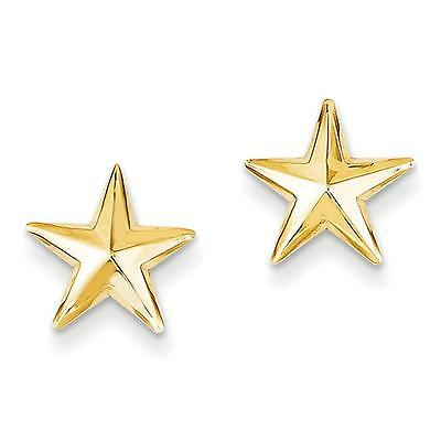 NEW 14k Yellow Gold Polished Nautical Star Post Stud Earrings 11mm x 11mm