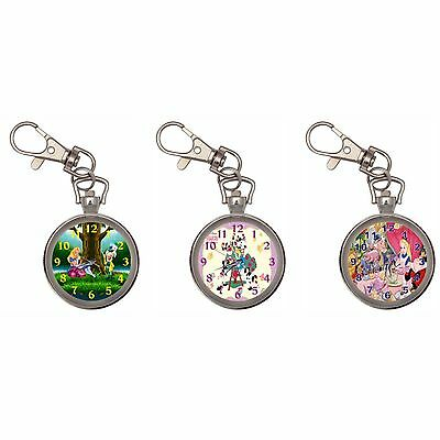 Alice In Wonderland Silver Key Ring Chain Pocket Watch New