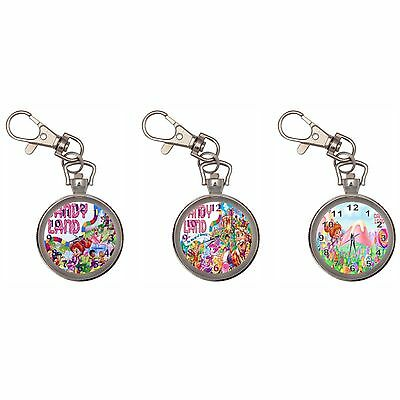 Candyland Silver Key Ring Chain Pocket Watch New