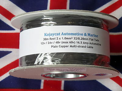 30m REEL 16.5 Amp 2 CORE 12v 24v 1.0mm FLAT TWIN CAR AUTO CABLE 1mm BOAT WIRE