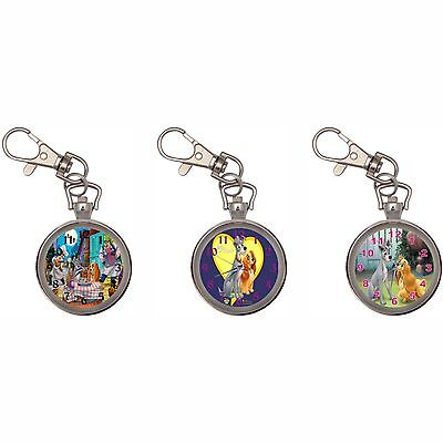 Lady And The Tramp Silver Key Ring Chain Pocket Watch New