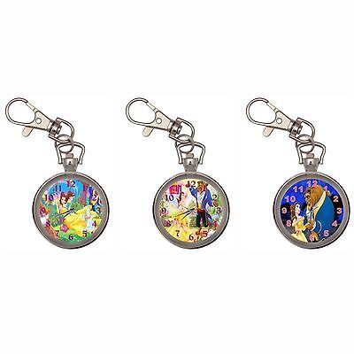 Beauty And The Beast Silver Key Ring Chain Pocket Watch New