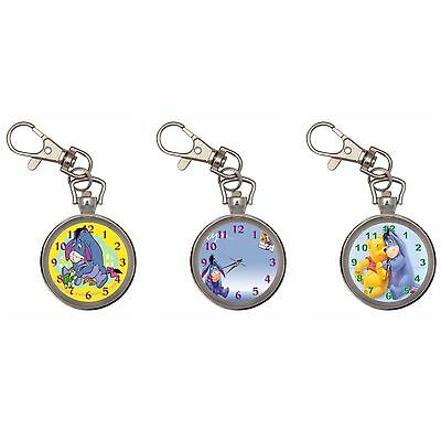 Eeyore Silver Key Ring Chain Pocket Watch New
