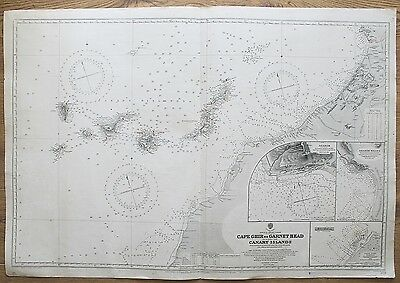 1898 Africa Cape Ghir To Garnet Head Canary Islands Vintage Admiralty Chart Map