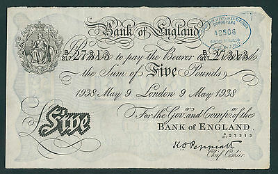 Great Britain (Operation Bernhard) 5 Pounds 1938 redeemed Dominican Rep.