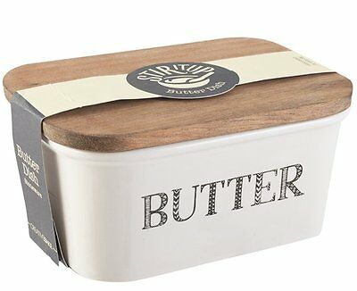Creative Bake STIR IT UP Butter Dish Stoneware with Wood Lid Large