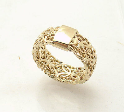 All Shiny Mirrored Byzantine Band Ring Real 14K Yellow Gold Sizes 5 6 7 8