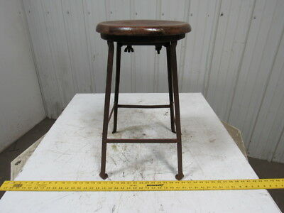 Vintage Steampunk Industrial Style Bar Stool Chair Angel Iron Frame Wooden Seat