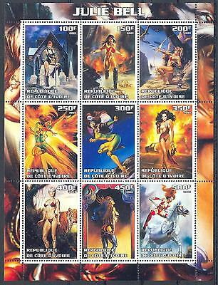 (051598) Archery, Horse, Tiger, Nude, Popart, Cote d'Ivoire - private issue -