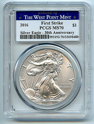 2016-(W) American Silver Eagle Dollar PCGS MS70 Coin West Point Label ASE FS