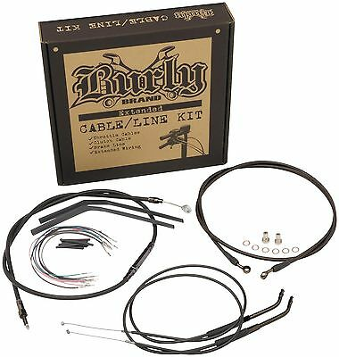 "Burly Extended Cable Line Kit 13"" Harley Baggers Apehanger Handlebars B30-1048"