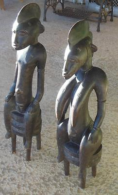 "Mid 20th Century superbly carved Senufo couple 28"" tall Ivory Coast 6 lbs each"