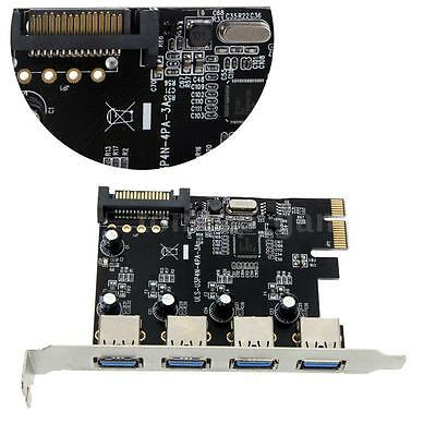 4-Port USB 3.0 PCI-E PCI Express Card with 15-pin SATA Power Connector NEW H5Q6