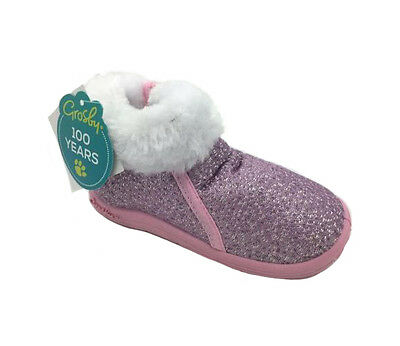 Girls Slippers Grosby Zip Up Slipper Boot Phoenix Pink/Silver/White Size 4-12