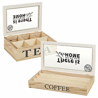 Wooden 6 Section Tea Bag Box or 32 Nespresso Capsule Storage Container Glass Lid
