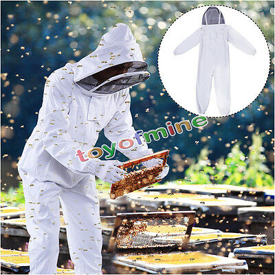 Professional Cotton Full Body Beekeeping Suit w/ Supporting Veil Hood - XX Large