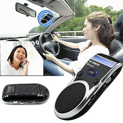 Solar Powered Bluetooth Handsfree Car Kit Speaker LCD Display with Car charger