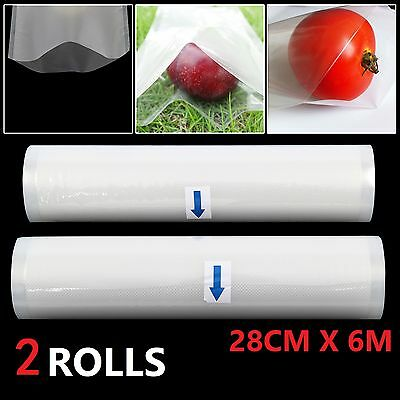 2 Rolls -28Cmx 12M- Textured Vacuum Vac Sealer Sous Vide Food Saver Storage Bags