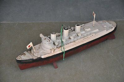 Vintage Wind Up Fine Painted Warship Boat Tin Toy , Japan ?