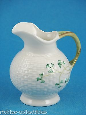 Vintage Basket Weave Cream Pitcher From Ireland by Belleek - Old Black Hallmark