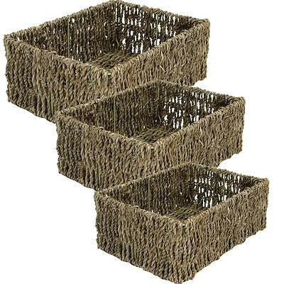 e2e Rectangular Shallow Seagrass Magazine Shelf Bathroom Storage Basket Hamper