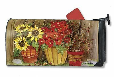 """Fall Flowers Pumpkin Basket Sunflowers Magnetic Mailbox Cover 1"""" Numbers Usa"""