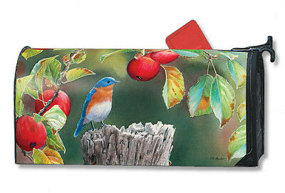 """Orchard Bluebird In Apple Tree Autumn Fall Magnetic Mailbox Cover 1"""" Numbers"""