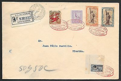 Uruguay covers 1925 INV Ovpt stamps! R-cover Montevideo to Florida