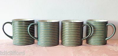 Denby INTRO STRIPES Green 4 Mugs Cups Spruce Blue-Green Beige Lines SECONDS