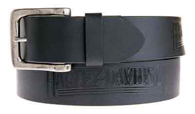 Harley-Davidson Men's Embossed Shot Caller Belt, Black Leather HDMBT11038-BLK
