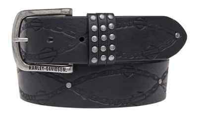 Harley-Davidson Women's Embossed Linked Belt, Genuine Leather HDWBT11026-BLK