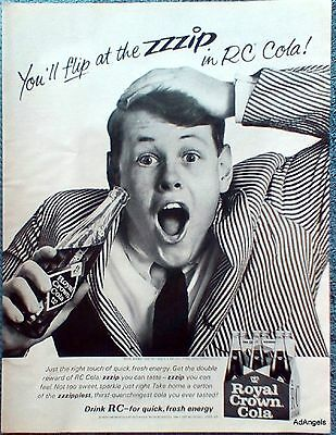 1965 RC Cola Royal Crown Teen Boy Hand On Head Flip At The ZZZip Fresh Energy ad