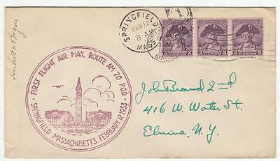 US cacheted cover Springfield MA First Flight 1933