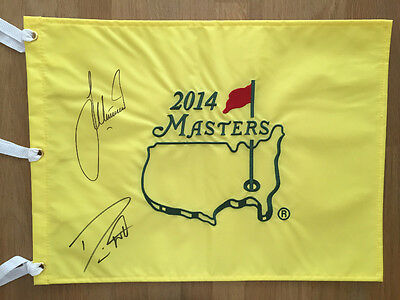Danny WILLETT Lee WESTWOOD Signed Augusta Masters Golf Flag Autograph AFTAL COA
