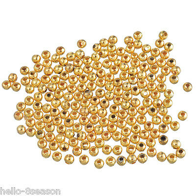 1500Pcs Gold Plated Smooth Ball Spacer Beads 4mm in Dia.