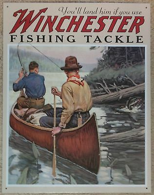 Vintage Replica Tin Metal Sign Winchester Fishing Tackle lures line hunting 1008