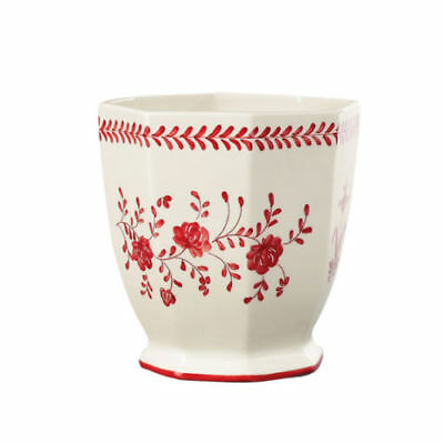 Andrea by Sadek Cream & Red Floral Octagonal Planter