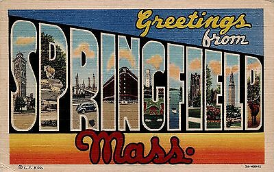 Large Letter Greetings From MA Massachusetts Springfield 7A-H3042 Linen Postcard