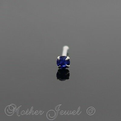 20G Real Solid 925 Sterling Silver 2Mm Sapphire Blue Nose Ball End Stud Pin Bone
