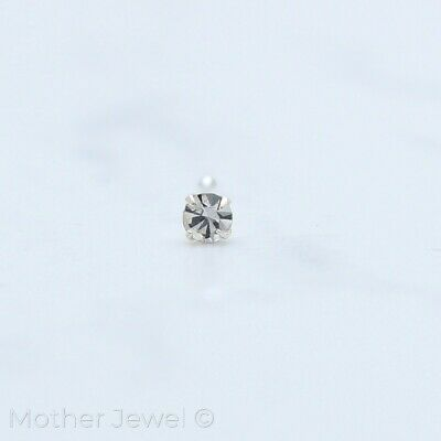 20G Real Solid 925 Sterling Silver 2Mm Simulated Diamond Nose Ball End Stud Bone
