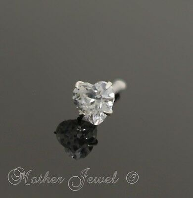20G Real Solid 925 Sterling Silver Heart Simulated Diamond Nose Ball End Stud