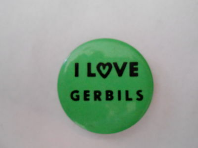 Vintage I Love Gerbils Pet Pinback Button